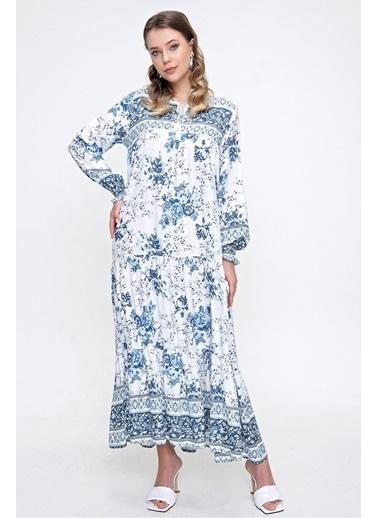 Butikburuç Kadın İndigo Çiçek Desen Kol Büzgülü Elbise İndigo